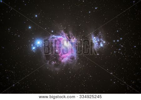 M42 The Great Nebula In The Constellation Of Orion As Seen From , Cornwall, Uk