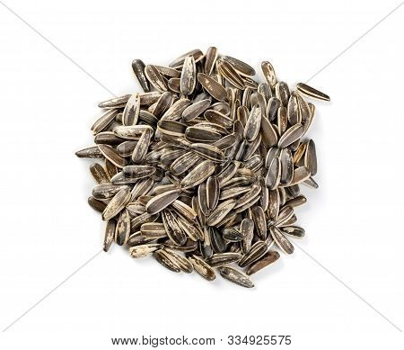 Pile Of Large Striped Sunflower Seeds With Shell Isolated