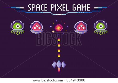Pixelated Characters And Spaceship Vector, Pixel Game With Fight. Aliens In Costumes, Burst In Sky F