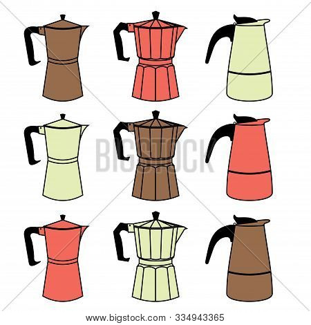 A Set Of Nine Colorful Geyser Italian Coffee Makers In A Flat Line Style. Vector Illustration
