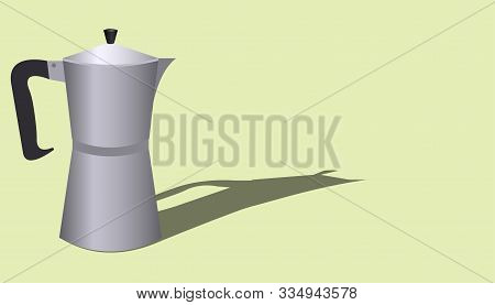 Banner Template With Italian Geyser Coffee Maker With Place For Text On A Green Background. Vector F