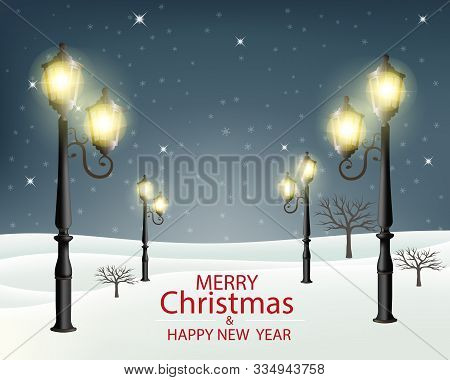 Christmas Evening Winter Landscape With Lampposts. Vector Illustration.