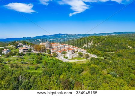 Old Town Of Hum On The Hill, Beautiful Traditional Architecture In Istria, Croatia, Aerial View From