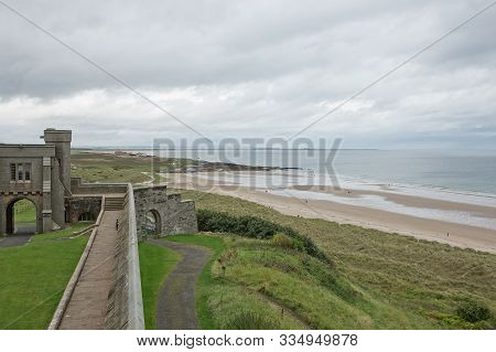 View Of A Beach From Bamburgh Castle In Northumberland, England, Uk