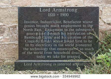 Stone In Memory For Lord Armstrong The First Baron Of Bamburgh Castle In Northumberland, England, Uk