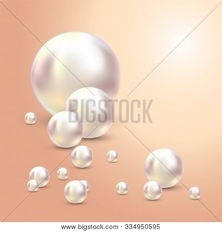 Vector Illustration For Your Design. Luxury Beautiful Shining Jewellery Background With White Pearls