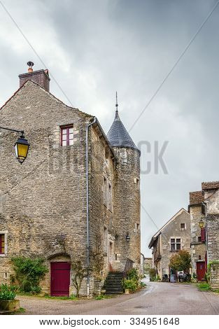 Street In Chateauneuf Commune With Historical Stone Houses, France
