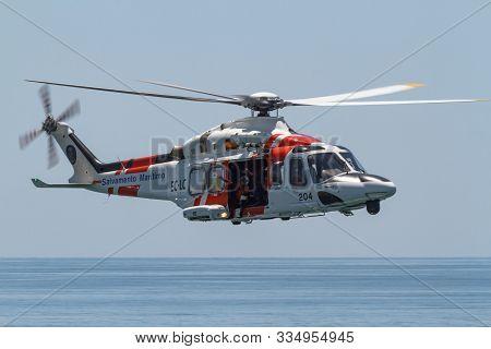 Motril, Granada,  Spain-jun 17: Helicopter Agusta Westland Helimer Aw-139 Taking Part In An Exhibiti