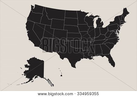 Usa Map Mainland With Alaska And Hawaii Business Concept Vector Illustration . Black, Coffee White.