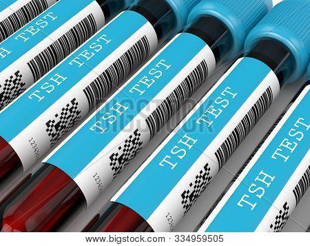 3d Render Of Tsh Test Blood Tubes Lying In Row.