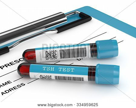 3d Render Of Tsh Test Blood Tubes Lying On Clipboard Over White Background