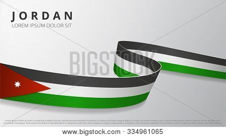 Flag Of Jordan. Realistic Wavy Ribbon With Jordanian Flag Colors. Graphic And Web Design Template. N