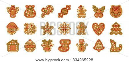 Christmas Gingerbread Flat Icons Set. Xmas Cookies Sign Isolated On White. Home Backing Sweet Food.