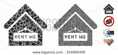 Rent Me Composition Of Abrupt Parts In Different Sizes And Color Hues, Based On Rent Me Icon. Vector