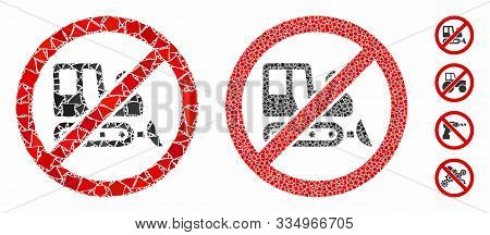 No Bulldozer Mosaic Of Rugged Parts In Different Sizes And Color Tinges, Based On No Bulldozer Icon.