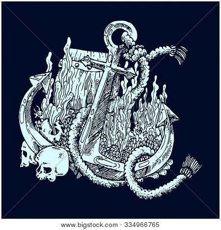 An Original Illustration Of A Ships Anchor And Rope In A Vintage Woodcut Woodblock Style