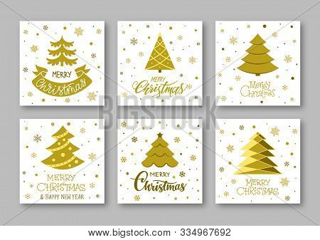 Merry Christmas And Happy New Year Gold Greeting Cards. Winter Holiday Wishing Inscription Postcard.