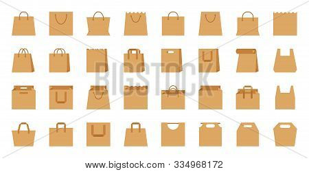 Shopping Bag, Paper Craft, Eco Package Flat Cartoon Icons Set. Shop Accessory, Sale, Buy, Market Org