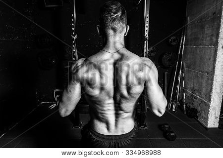 Back Muscle Workout, Young Muscular Fit Sweaty Strong Man Doing Cross Workout Training For Back Musc