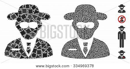 Secure Agent Mosaic Of Raggy Pieces In Different Sizes And Shades, Based On Secure Agent Icon. Vecto