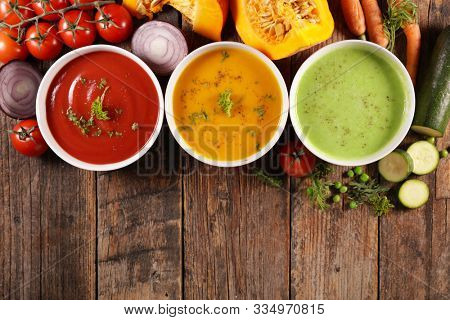 vegetable soup, carrot soup- tomato soup and zucchini soup