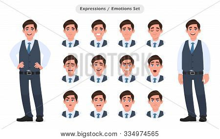 Set Of Male Character's Facial Expressions. Collection Of Man With Different Emotions. Emoji With Va