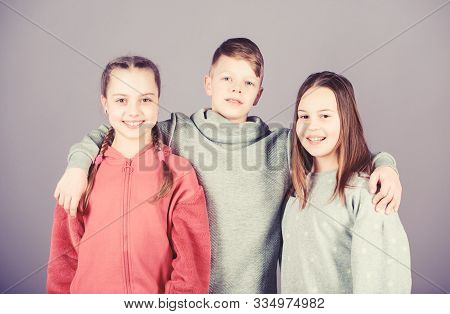 Cheerful Youth. Relations And Friendship. Happy To Have Such Good Friends. Teens Friends. Girl And B