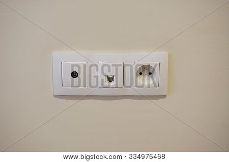 Modern Wall Outlets With 220v Output, Antenna Output Coaxial Wire And Internet Outlet Twisted Pair .
