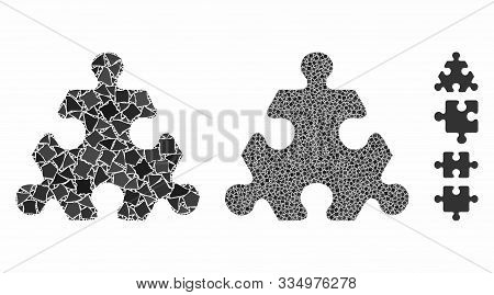 Hex Puzzle Item Mosaic Of Uneven Items In Variable Sizes And Color Tints, Based On Hex Puzzle Item I