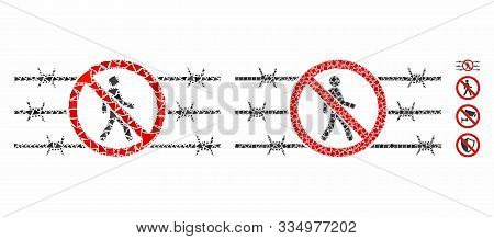 No Trespassing Fence Composition Of Bumpy Elements In Various Sizes And Color Tones, Based On No Tre