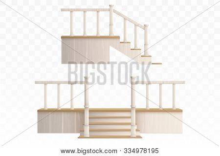 Wooden Porch Staircase With Decorative Balustrade And Pillars Front And Side View. Vector Realistic