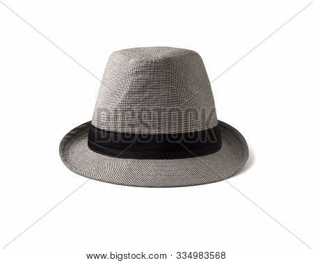 Front View Of Fedora Black And White Hat With Band. Head Dress In Gangsters Fashion Style Isolated O