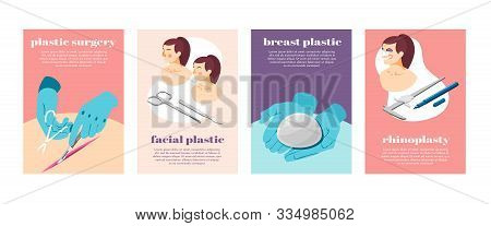Plastic Surgery Process Equipment And Female Face Before And After Operation Isometric Icons Set Iso