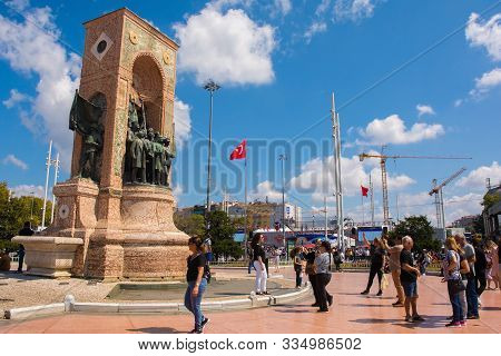 Istanbul, Turkey - September 8th 2019. Tourists Take Photos Of The Republic Monument In Taksim Squar