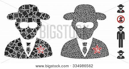 Kgb Spy Composition Of Irregular Parts In Various Sizes And Color Tones, Based On Kgb Spy Icon. Vect