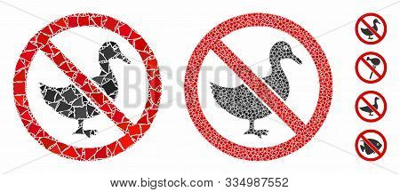 No Duck Mosaic Of Abrupt Pieces In Variable Sizes And Shades, Based On No Duck Icon. Vector Abrupt E