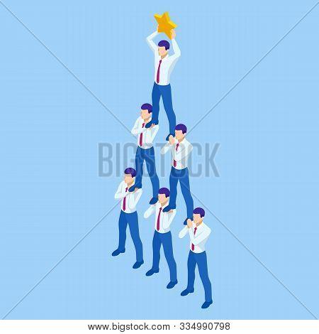 Isometric Teamwork Businessmen Pyramid To Reach Rating Star. Reaching The Stars. Team, Leader, Super