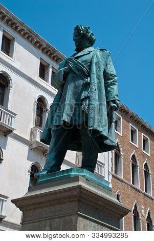 Venice, Italy: Campo Manin, View At Statue Of Italian Patriot Daniele Manin From 1875, By Luigi Borr