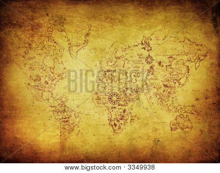 highly detailed image of ancient map of the world poster