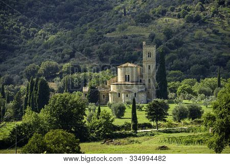 SantAntimo Abbey, Castelnuovo dell Abate, Montalcino, Tuscany, Italy poster