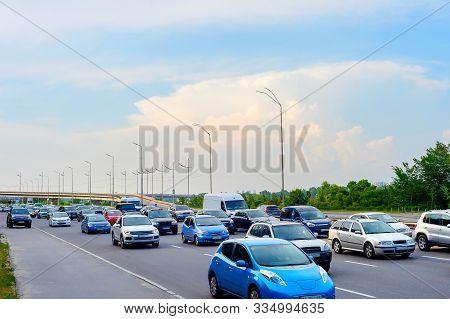 Cars In Traffic Jam, Rush Hour, City Highway, Kyiv, Ukraine