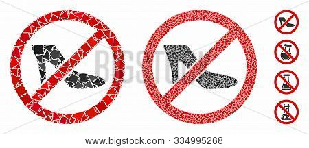 No Lady Shoe Composition Of Trembly Pieces In Variable Sizes And Shades, Based On No Lady Shoe Icon.
