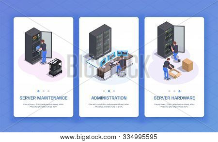 Datacenter Administration Hardware Equipment Server Maintenance Communication Services 3 Isometric V
