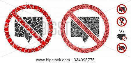 No Banner Mosaic Of Bumpy Items In Variable Sizes And Color Hues, Based On No Banner Icon. Vector Bu