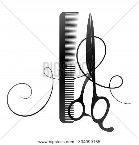 Scissors And Comb Curl Hair For A Beauty Salon