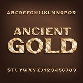 Ancient Gold alphabet font. Golden serif letters and numbers with shadow. Stock vector typescript for your design. poster