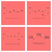 Chemical formulas of food and cosmetic preservatives: parabens, sorbic, benzoic, salicylic, formic, acetic, propionic acids, biphenyl, 2-phenylphenol, thiabendazole and others, vector, eps8 poster