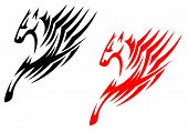 Tribal stallions isolated on white background for tattoo or t-shirt design poster