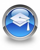 Graduate cap icon on glossy blue round button poster