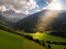 Santa Maddalena, Val Di Funes, South Tyrol, Italy. Santa Maddalena Church In The Dolomites